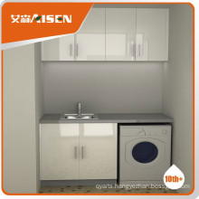 Simply design white high glossy lacquer laundry cabinet