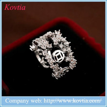 Luxus Mumbai Modeschmuck weißen Zirkon offenen Ring Frauen Ehering