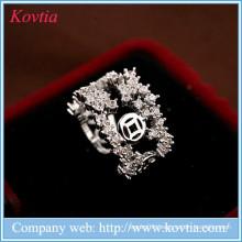 Luxury mumbai fashion jewellery white zircon open ring women wedding ring