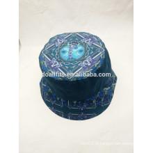 Toda a forma de impressão digital com dobby lona balde chapéu