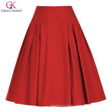 Grace Karin Mujer Alta Estiramiento Vintage Retro Rojo A-Line Falda Corto CL010451-2