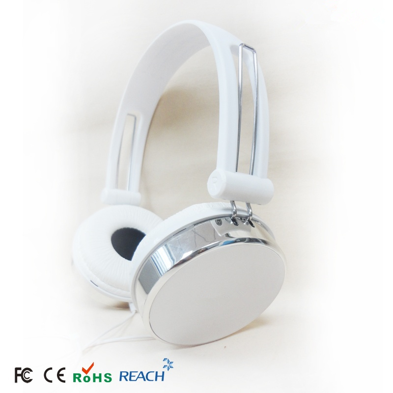 silver over ear head earphone