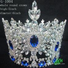 Nueva tiara azul del Rhinestone de la corona de la belleza redonda llena del acontecimiento grande de la manera del diseño
