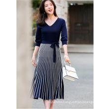 Spring 2020 New Vintage Elegant French Style Feminine Knitted Pleated Skirt