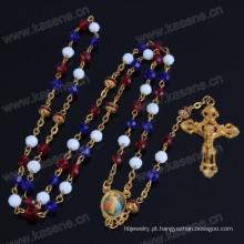 Grânulos de Cristal de Cores Misturadas e Grânulos de Cobre Vermelho Colar de Rosário Religioso, Rosário Católico