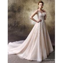 Spaghetti Lace Beading A Line Beach Wedding Dress Customa Made