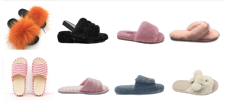 Cashmere leather indoor women's slippers