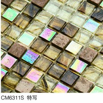 Azulejo de mosaico de vidro âmbar
