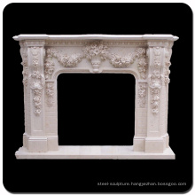 Europe style home decoration marble fireplace mantel with flowers