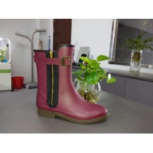 Short Wine Red Women's Handsome Rain Boots