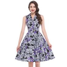 Bello Poque Stock Sleeveless Retro Vintage Sleeveless Lapel Collar Cotton Party Dress BP000003-1