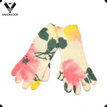 Зимняя теплая мода цветок печатных перчаток пять пальцев