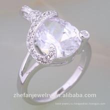 Новое поступление Прополочных кольца Белое золото Плакировкой кольца с CZ Родием ювелирные изделия-это ваш хороший выбор