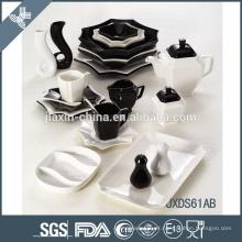 Nova forma 61 PCS Cor Mixing Porcelana Jantar Conjunto, Oito lado Conjunto de jantar, porcelana branca