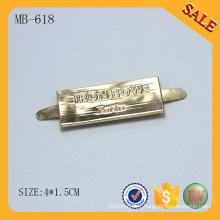MB618 2016 Nouveau logo personnalisé étiquette en métal doré