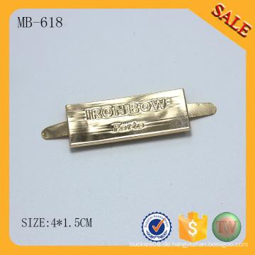 MB618 2016 Neue benutzerdefinierte Logo Gold Metall Tasche Tag