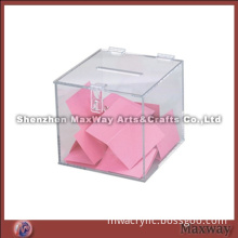 Small clear square acrylic entry box with hinged top