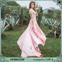 Vestidos de vestidos de festa rosa feminino bonitos vestidos de festa de alibaba de appliques de cetim rosa para mulheres
