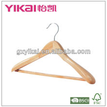 wooden coat hanger with wide shoulders/square bar and rubber teech