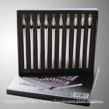 Venta al por mayor de plata de acero inoxidable largo puntas de la aguja del tatuaje