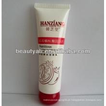 Tubo plástico de embalagem cosmética com tampa especial