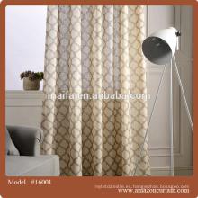 100% poliéster cortina de ventana impresa con cenefa adjunta con respaldo de encaje con 2 espaldas de corbata