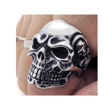 Anillos de cráneo de acero inoxidable moda fresca para los hombres