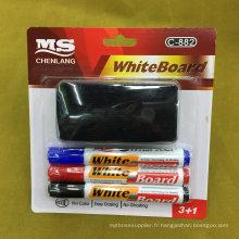 C-882 3 + 1 plume de tableau blanc avec brosse, ensemble de papeterie