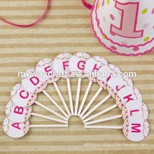 festival party decoration personalised attractive 26 letters pink round paper cake toppers
