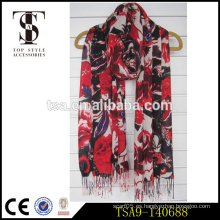 Flores rojas grandes de la marca de fábrica del patrón de la flor 100% viscosa de la bufanda del pashmina productos calientes de los vestidos de las mujeres accesorios