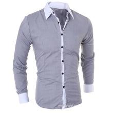 Business Men Color Block Cotton Prom Slim Shirt Men Clothing