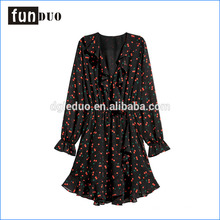 2018 V-neck Printed Pattern One Piece Women Softly Short dress Long Sleeve Skirt