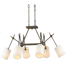 Country Style Decorative Iron Pendant Light with Fabric Shade (GD9058-6GBB)