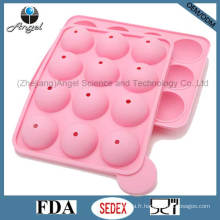 FDA LFGB Standard 12 Cavités Round Silicone Lolly Pop Candy Mold Mini DIY Silicone Cake Mold Sc11