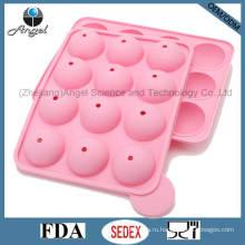 FDA LFGB Стандартный 12 полостей Круглый силиконовый Lolly Pop Candy Mold Mini DIY Силиконовый торт пресс-формы Sc11