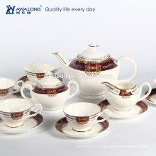 Em armazenado em massa New bone china cores Royal 15 peças de café em cerâmica conjunto