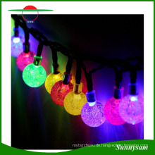 Solar Power 5m 20 Kristallkugel LED String Fairy Light Wasserdichte Lampe für Weihnachten Festival Party Hochzeit Garten Dekoration