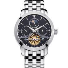 Reloj De Lujo Hombre Lune Fase De Zafiro Impermeabilizante Fecha De Plata De Acero Inoxidable Reloj Automático De La Máquina Relogio Masculine