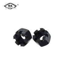 Hex slotted nuts carbon steel black zinc nut