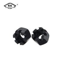 Porcas com fenda hexagonal aço carbono zinco preto
