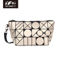 Geometric waterproof folding PU leather evening handbag