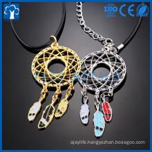custom metal craft feather shape necklace pendant