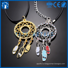 изготовленный на заказ металл ремесло перо форма кулон ожерелье