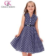 Grace Karin Kids 'Holly' Vintage 50's Dress Girls Retro Vintage Sleeveless Lapel Collar Navy Polka Dots Dress CL009000-2
