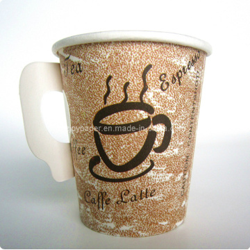 Brown Single Walled Kaffee Papier Vending Cup mit Griff
