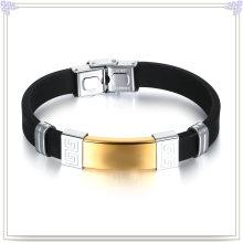 Pulseira de borracha pulseira de silicone do aço inoxidável (LB496)
