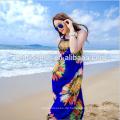 Großverkauf-späteste Sommer-Frauen, die ärmelloses gedrucktes Blumenbackless kurzes Kleid zusammenfügen
