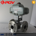 3 way flanged stainless steel electric ball valve