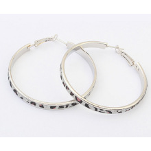 exaggerated fashion Leopard print big round gold metal alloy hoop earrings for women 2 colors wholesale new hot-selling