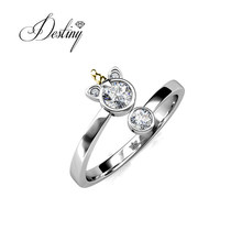 Rhodium Plated Cartoon Design Unicorn Open Ring with Crystals